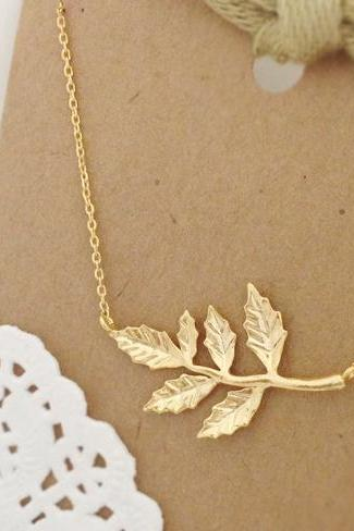 Six Gold Leaves Necklace, Branch necklace, Autumn Leaves, Nature Jewelry