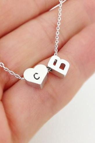 Double Initial Necklace, Personalized initial and heart initial necklace, initial jewelry