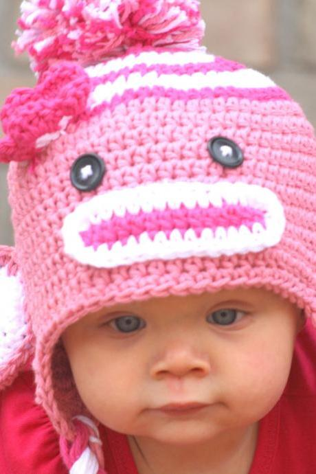 Crochet Pink Sock Monkey Hat Newborn to Toddler sizing Photography prop