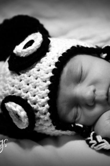 Panda Earflap hat Newborn to Toddler sizes Photography Prop