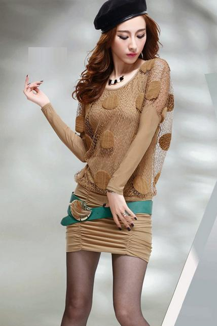 Fashion Two Pieces Wine Batwing Sleeve Dress - Apricot