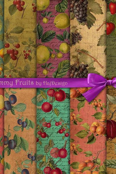 Yummy Fruits - Digital Collage Sheet - Digital Paper - Scrapbook Paper - Decoupage Paper - Vintage - Fruits
