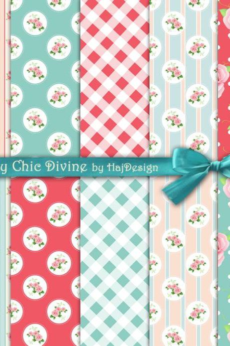 Shabby Chic Divine - Digital Collage Sheet - Digital Paper - Shabby Chic Paper - Scrapbooking - Decoupage - Printables - DIY