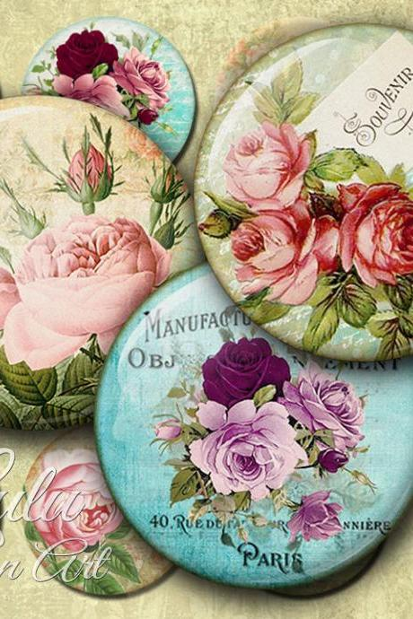 Antique Roses - Digital Collage Sheet - 2 inch circle - pocket mirror - printable circles - jewelry handmade - printable sheet