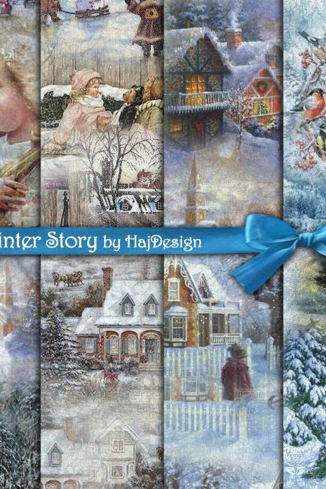 Winter Story - Digital Collage Sheet - Digital Paper - Decoupage Paper - Scrapbook Paper - Christmas - Printable Paper
