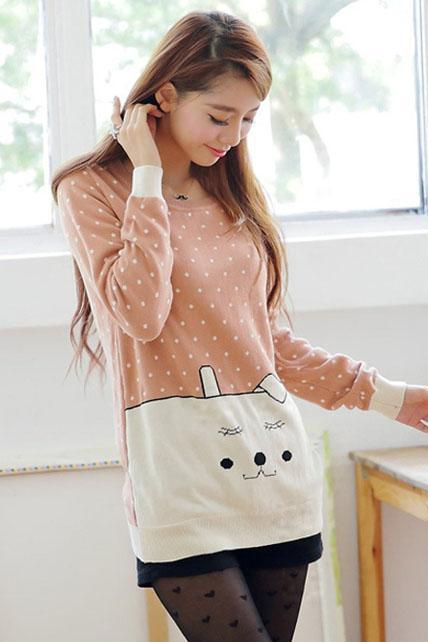 Sunshine Dot Print Cartoon Design Sweater - Pink