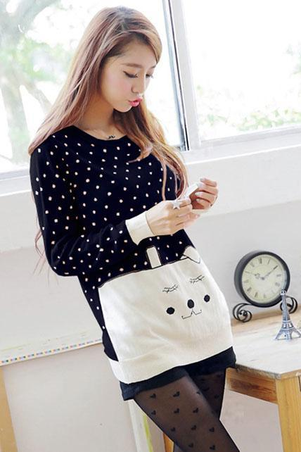 Sunshine Dot Print Cartoon Design Sweater - Dark Blue