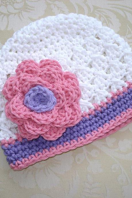 Ready to Ship Crochet Pink and Purple Newborn to Toddler sizes Photography Prop