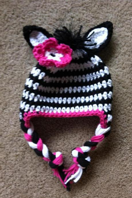 Crochet Zebra Earflap Hat Newborn to Toddler sizing Photography prop
