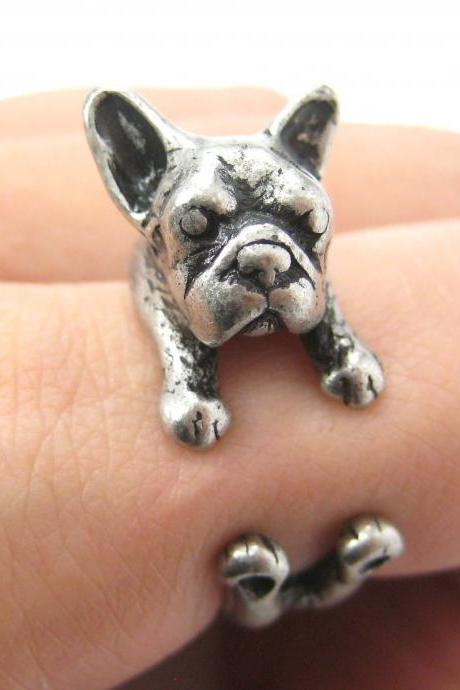 French Bulldog Puppy Animal Wrap Around Ring in Silver - Sizes 5 to 9 Available