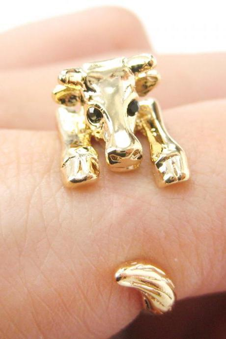 Realistic Cow Bull Animal Wrap Hug Ring in Shiny Gold | Sizes 4 to 9 Available