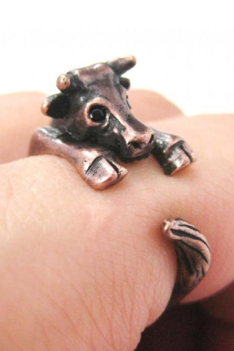 Realistic Cow Bull Animal Wrap Hug Ring in Copper | Sizes 4 to 9 Available