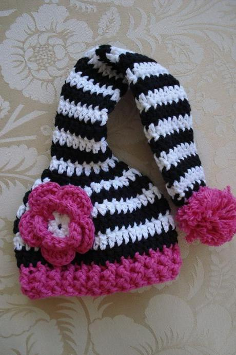 Crochet Zebra Long Tail Pixie Elf Hat Newborn Photography Prop