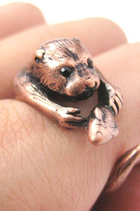 Realistic Otter With Fish Animal Wrap Ring in Copper | Sizes 4 to 9 US Available