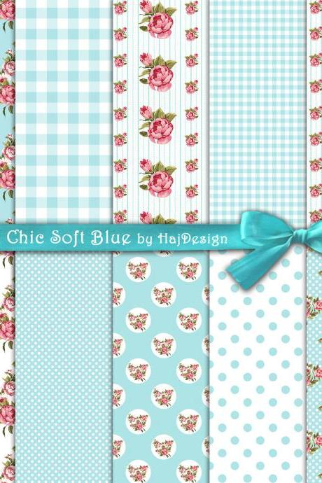 Shabby Chic Soft Blue - Digital Collage Sheet - Digital Paper - Decoupage Paper - Shabby Chic - Scrapbook Paper - Floral - Roses - DIY - Craft