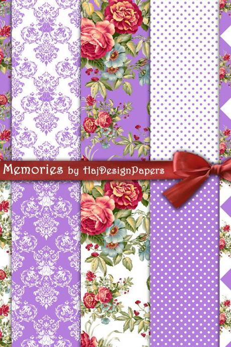 Secret Memories - Digital Collage Sheet - Digital Paper - Decoupage Paper - Shabby Chic - Scrapbook Paper - Printable Paper - Floral Paper - Pattern - Roses