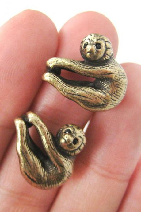 Realistic Baby Sloth Dangling Animal Themed Stud Earrings in Bronze