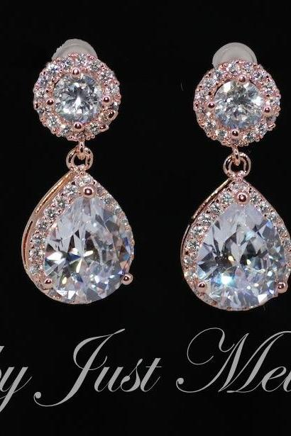 Wedding Earrings, Bridesmaid Earrings, Bridal Jewelry - Rose Gold Plated Cubic Zirconia Round Earring with Cubic Zirconia Teardrop (E597)