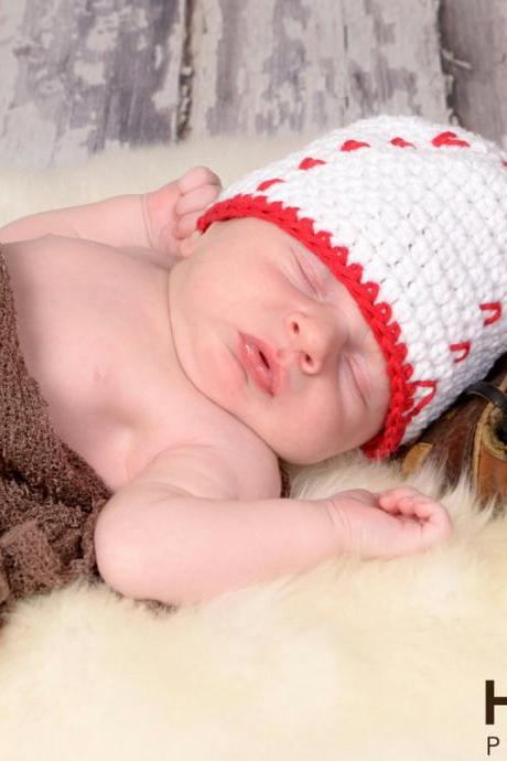 Crochet Baseball Hat Newborn to Toddler sizing Photography prop