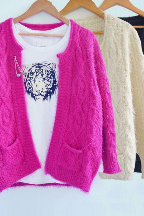 New Nice Vintage Mohair Twist Sweater &Cardigan