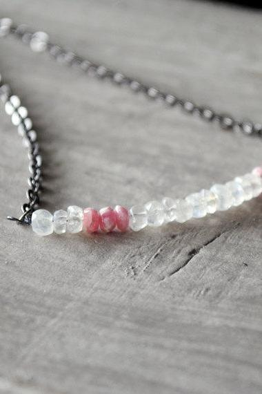 Pink Gunmetal Necklace Rainbow Moonstone Rhodochrosite Gemstones