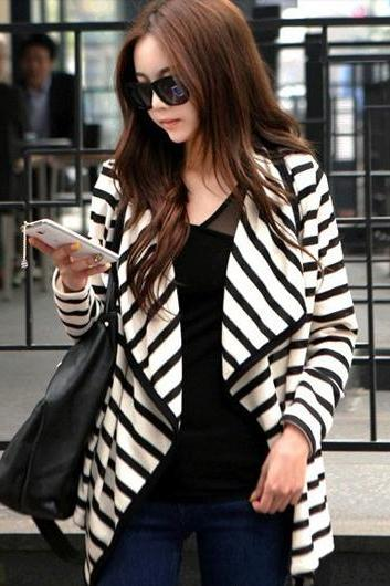 Unique Irregular Long Sleeve Striped Cardigan