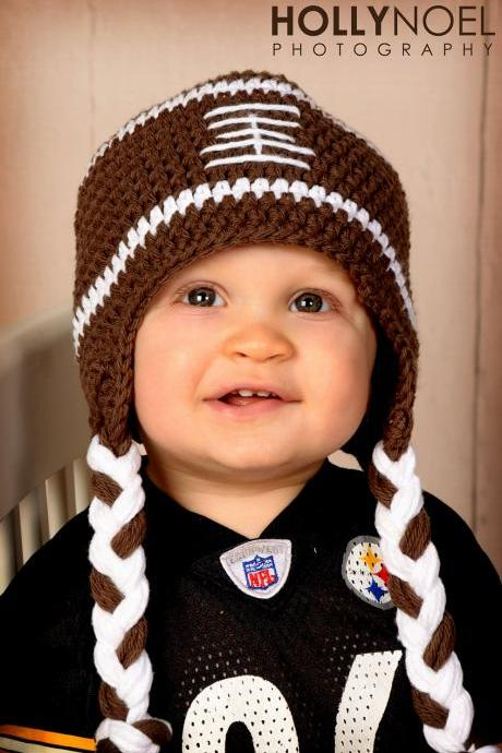 Crochet Football Hat Newborn to Toddler sizing Photography prop
