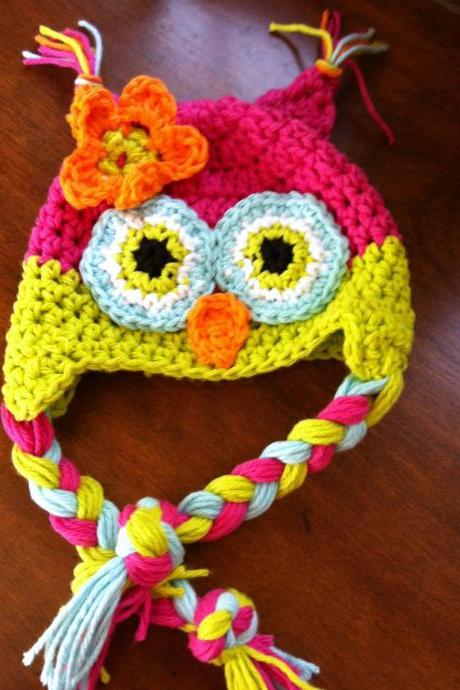 Crochet Owl Hat Newborn to Toddler sizing Photography prop