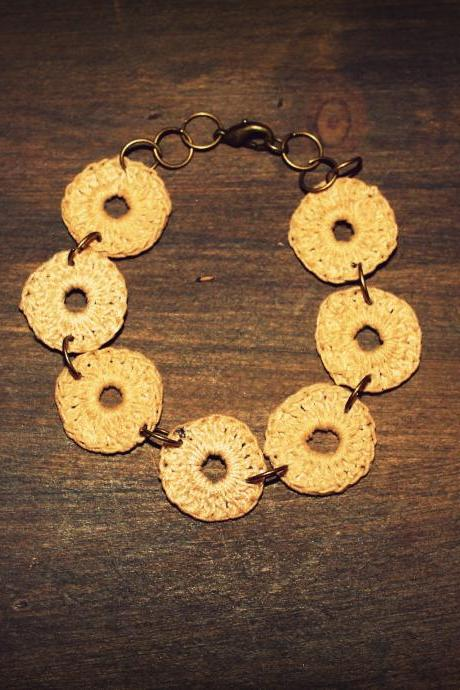 'Wheels-- crocheted bracelet (Beige)