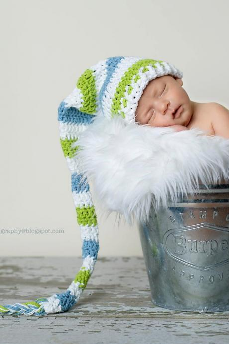 Crochet Long Tail Pixie Elf Hat Newborn Only Photography Prop