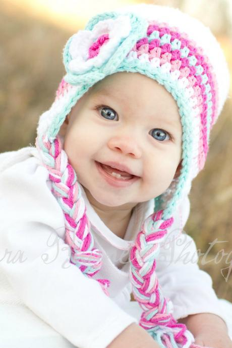 Crochet Pink and Turquoise Earflap Hat Newborn to Toddler sizing Photography prop