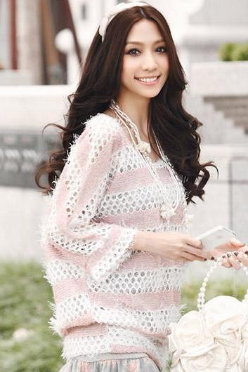Vogue Square Collar Three Quarter Sleeve Long Knitting Wool Pullover Sweater - Pink