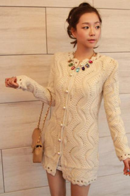 Formal Long Pattern Beige Button Closed Cardigans for Lady
