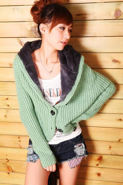 Casual Style Long Sleeve Knitting Hat Design Cardigans - Green