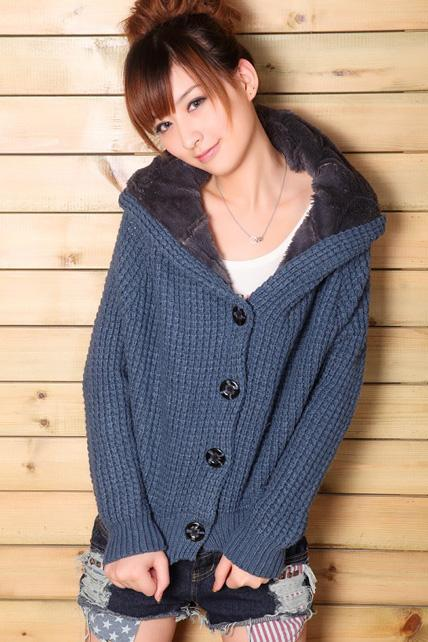 Casual Style Long Sleeve Knitting Hat Design Cardigans - Navy Blue