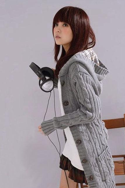 Winter Long Sleeve Button Fly Hooded Sweater Coat