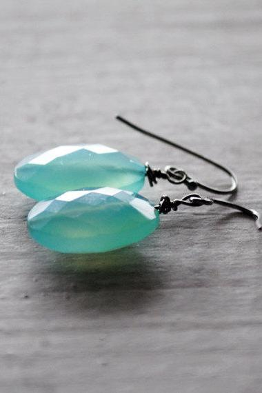 Aqua Green Earrings Chalcedony Gemstones Gunmetal Black