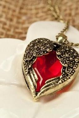 Vintage Red Rhinestone Heart Angel Wing Pendant Necklace