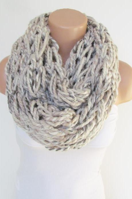 Infinity Stone Cream Gray Scarf,Neckwarmer,Knitted Scarf, Circle Loop Scarf, Winter Accessories, Fall Fashion,Chunky Scarf.Cowl Scarf