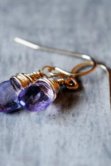 Pink Amethyst Earrings 14kt Gold Filled Wire Wrapped Gemstones