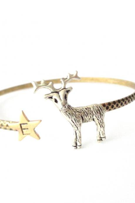 Silver Reindeer bracelet, personalized initial cuff, christmas bangle