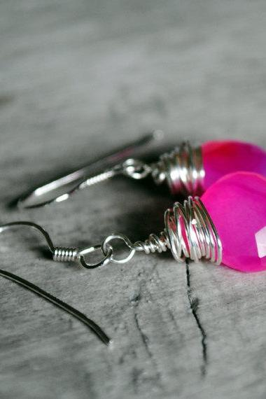 Hot Pink Earrings Chalcedony Sterling Silver Wire Wrapped Gemstones