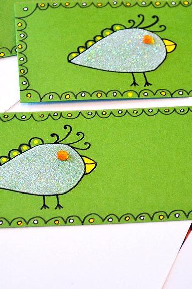 Gift Tags - 6 Dino-Mite Birds with Amber Rhinestones