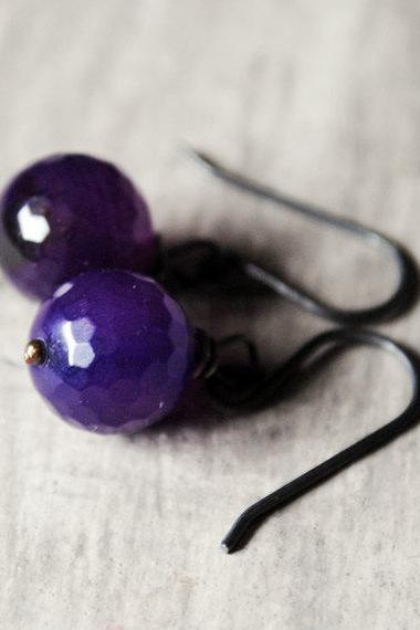 Grape Purple Earrings Agate Gunmetal Gemstones