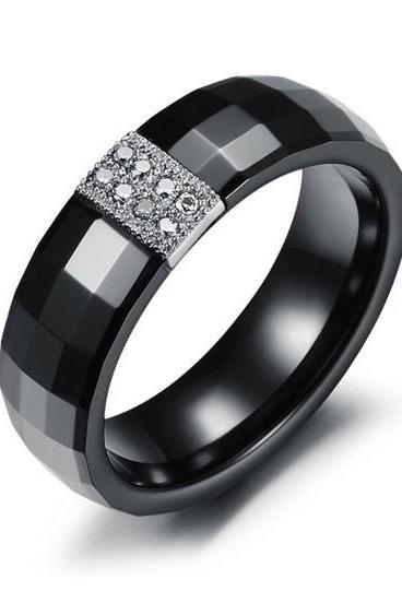 Platinum Plated CZ Diamond Black Ceramic Couple Promise Ring - (avail sizes 7 & 8)