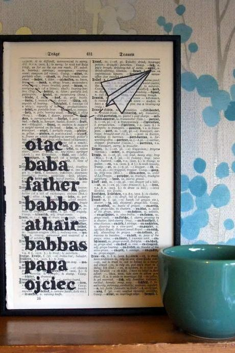 Fathers Day Typographic Art Paper Plane on antique book page