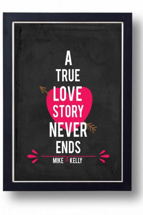 Kitchen Art, Kitchen decor, Anniversary gift for Husband, wife- A True Love Story Never Ends
