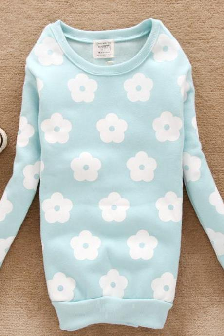Cute Daisy Warm Fleece Sweatshirt Sweater