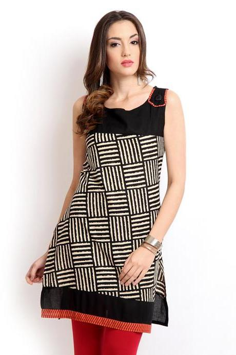 Alma Women Black Printed Kurta (Perfect Gift For Women) Super Fast Delivery : Your Daughter, GF and Wife will have big Smile and Happiness
