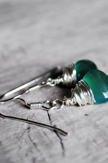 Emerald Green Earrings Chalcedony Sterling Silver Wire Wrapped Gemstones